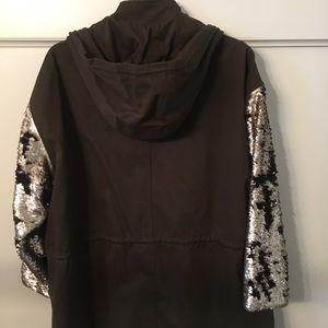 Zara Sequin sleeve utility jacket